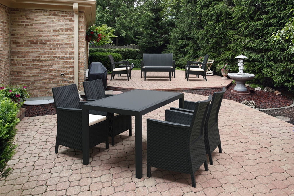 dark black metal patio table