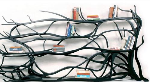 dark tree root bookshelf design