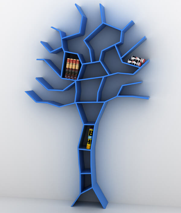 future blue tree bookshelf
