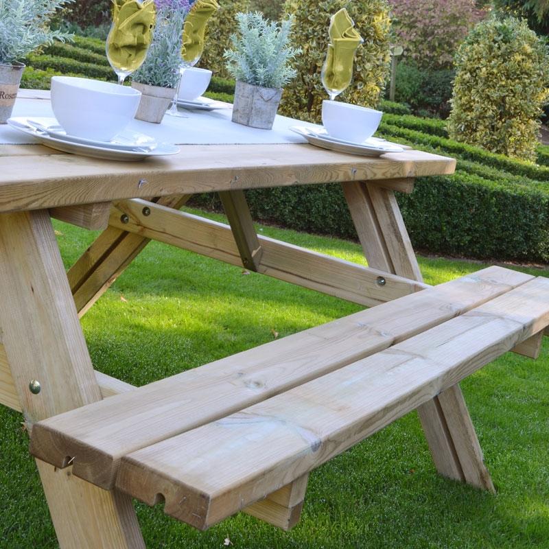 large patio wooden rectangular table for garden