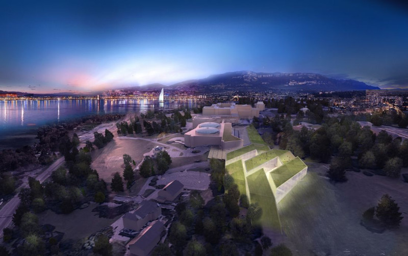 night view of the new capital master plan in United Nations Office at Geneva Switzerland