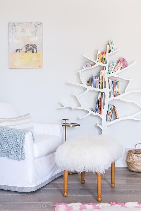 nursery white chrismas tree shaped bookshelf