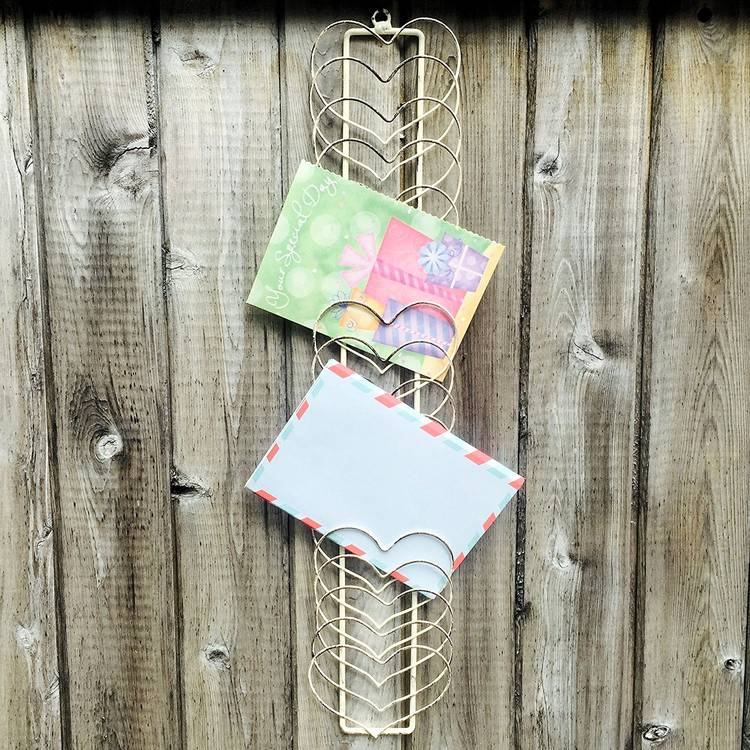 rustic heartshape vintage mail holder for wall