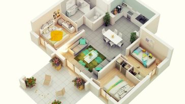 small house plan in 3d with three bed rooms