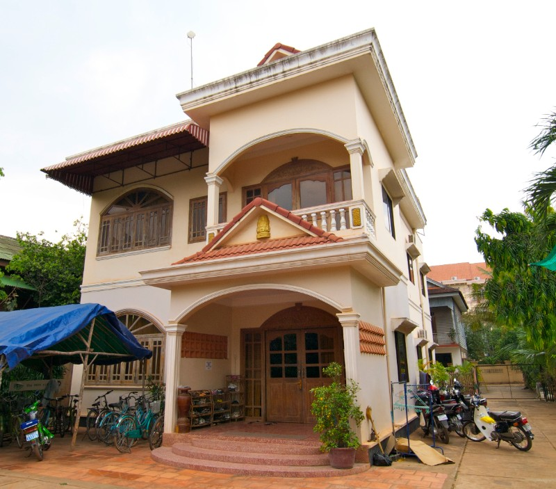 stone khmer traditional house in a village