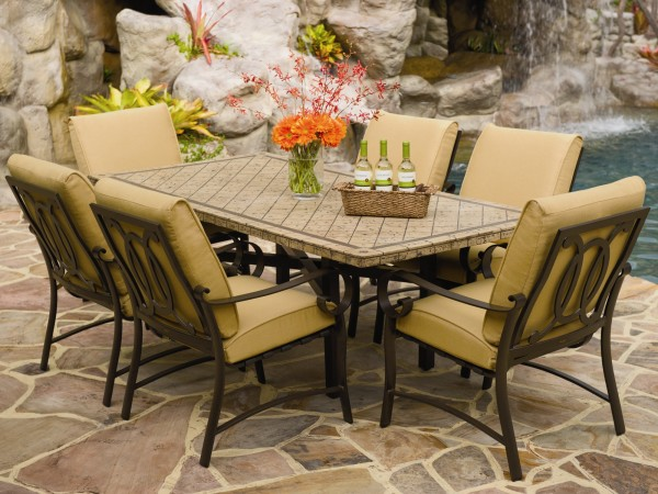 stone patio dining table for 6 people