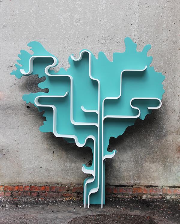 the modular tree shape bookshelves by Maria Yasko