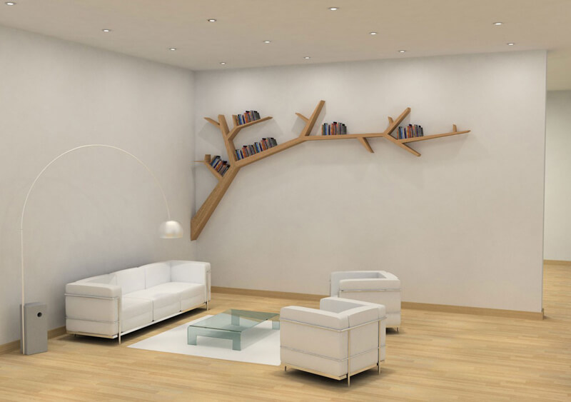 trendy and modern tree shaped bookshelf in an exquisite office space