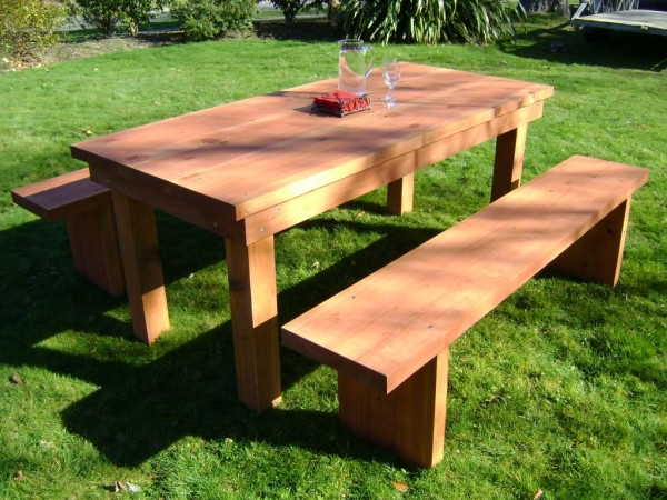 wooden bench outdoor rectangular patio dining table