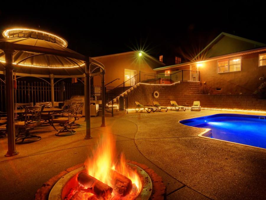 Beaver Lake Home Swimming Pool at night view