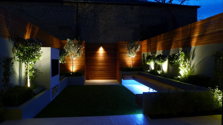 beautiful lawn in a small garden in london view during night with illuminated lighting show