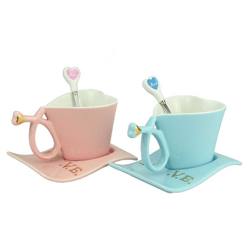 couple coffee mug pink and blue for any lover
