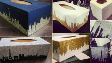 diy city design glitter tissue box
