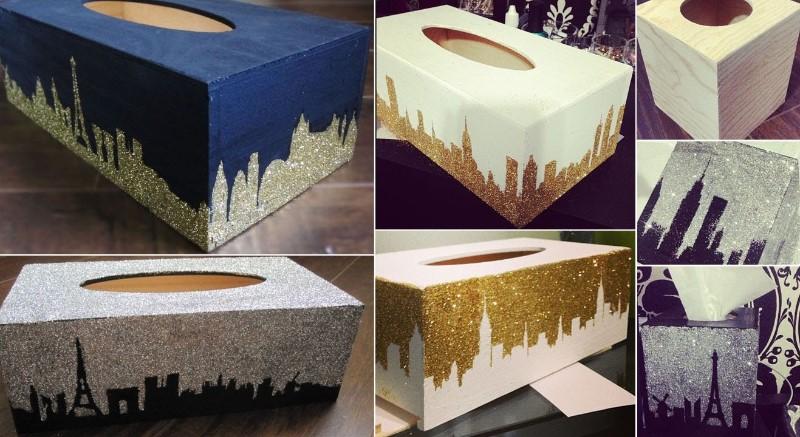 diy city design glitter tissue box