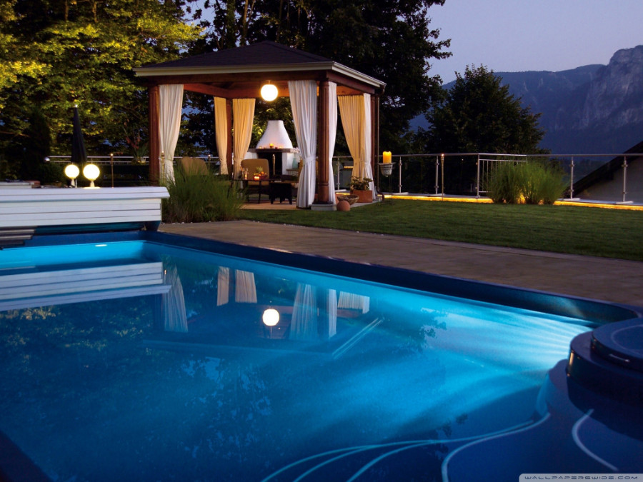 evening view of a swimming pool in an Italy Hotel