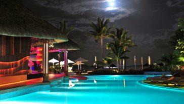 full moon swimming pool at night