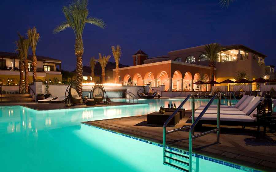 luxury green water swimming pool at evening time