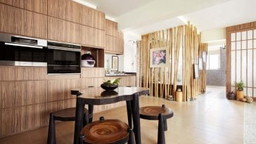 open space kitchen and living room of a HDB Flat in singapore designed by Artrend