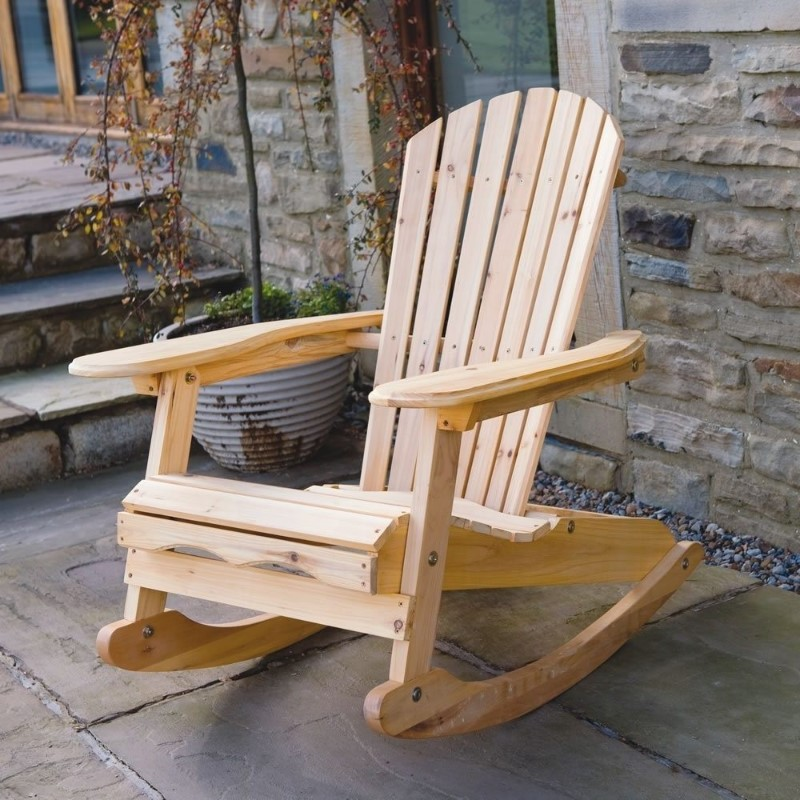 outdoor wooden rocking chair for old man