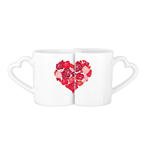 pink heart connected coffee mugs