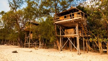 stilt shack on a koh rong beach cambodia