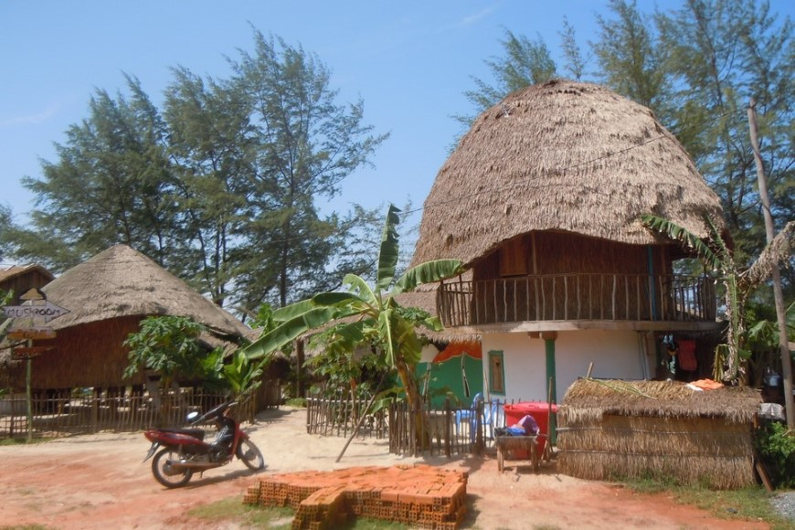 traditional khmer shack in a sihanoukville cambodia
