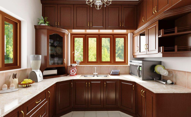 traditional redwood cabinet kitchen design ideas