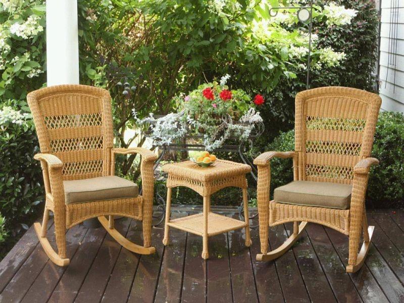 twin rattan outdoor rocking chair