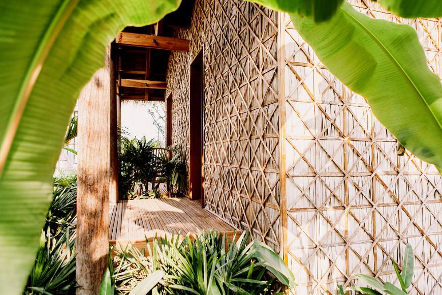 cambodia green village hut