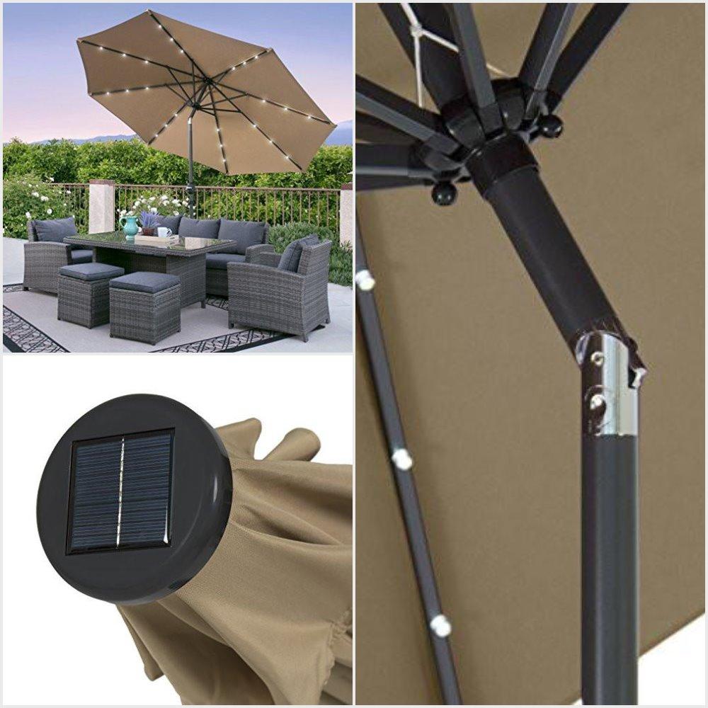 10 feet solar powered patio umbrella
