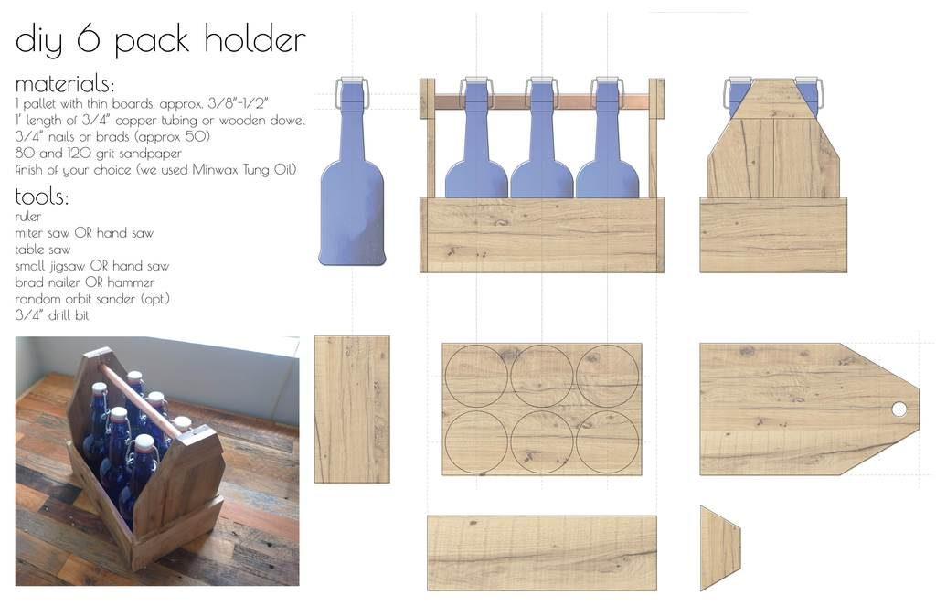 6 pack wooden beer caddy plan