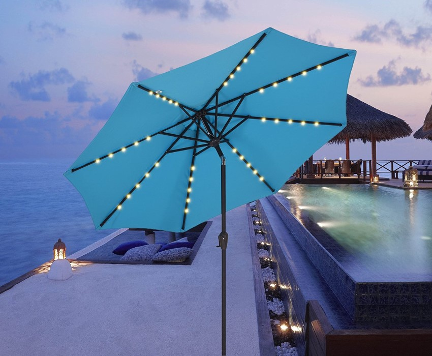 9 feet Outdoor Solar Powered Patio Umbrella with 40 LED light