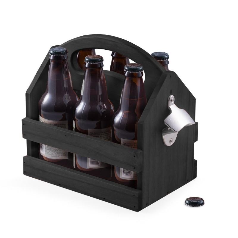 Bey Berk's solid wood 6 pack bottle caddy