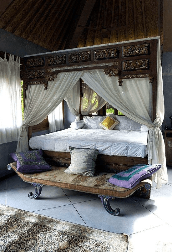 bali style bedroom with traditional indo decor