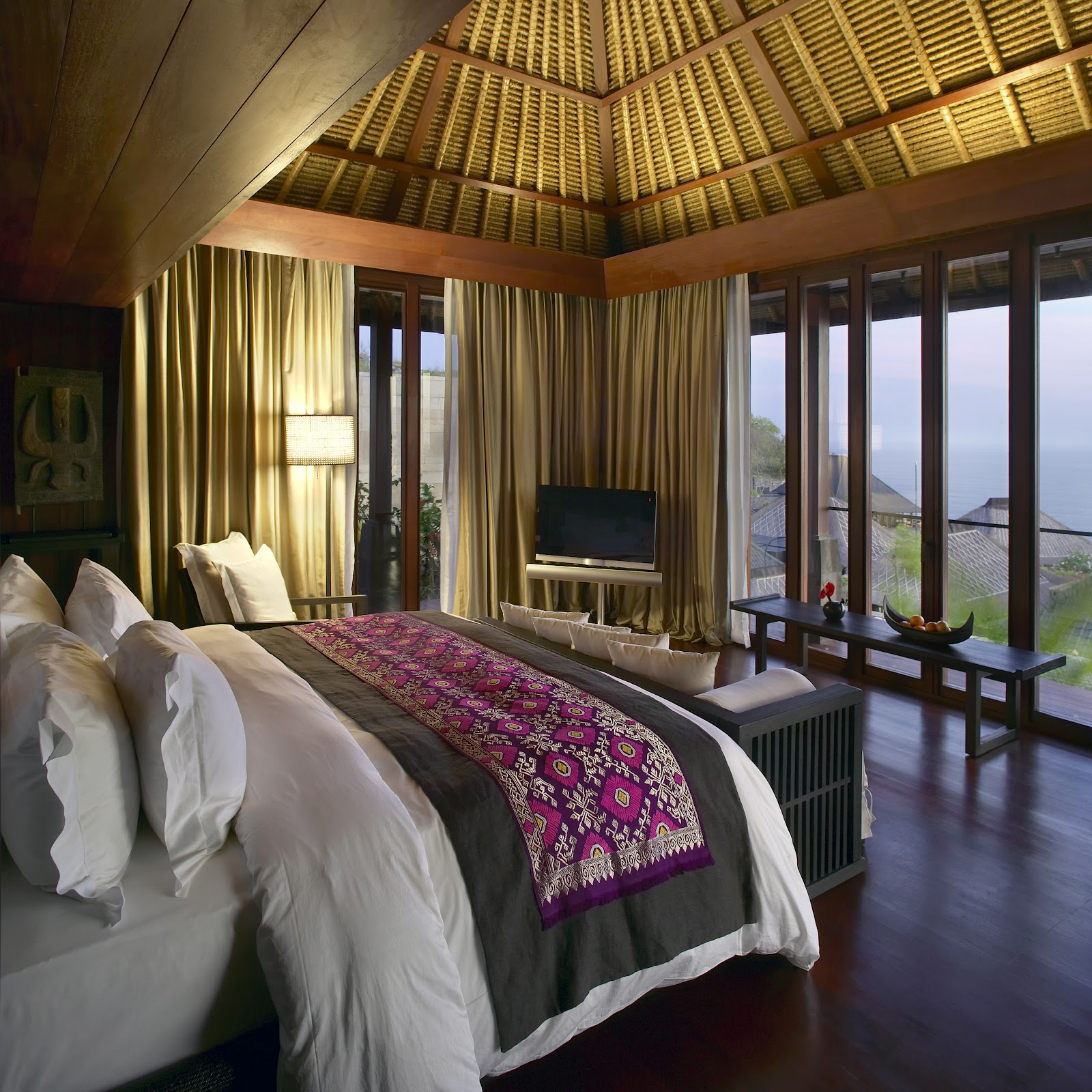 balinese bedroom decor with indonesian silk bed cover