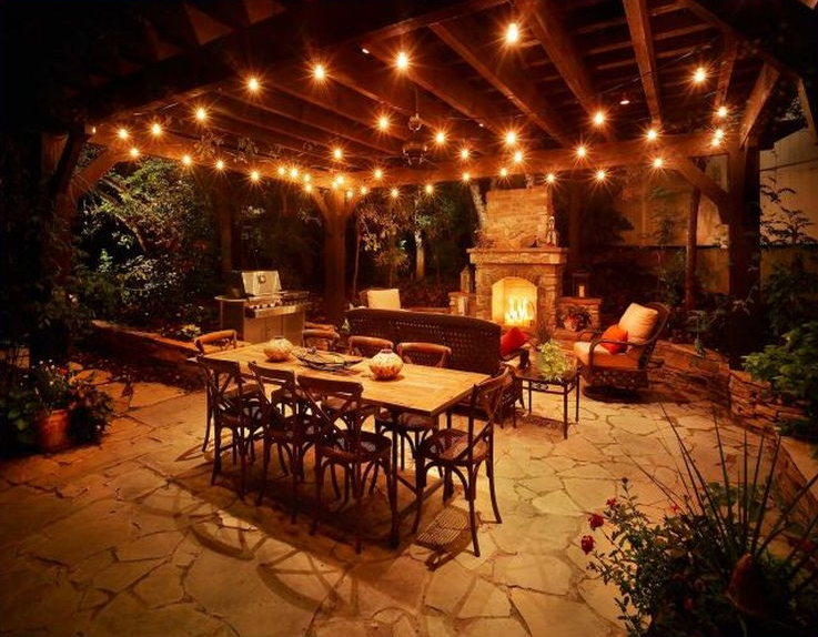 beautiful outdoor lighting ideas for backyard with dining table