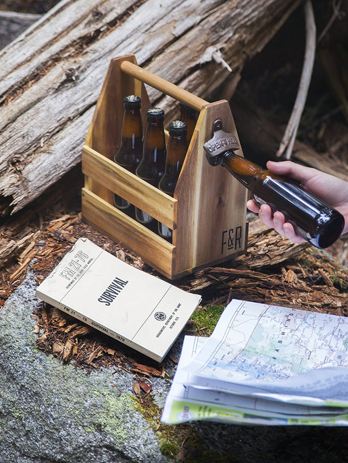 beer bottle with opener made from acacia tree