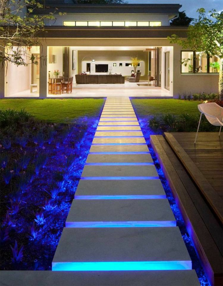 blue LED lighting of a pathway of a backyard at night