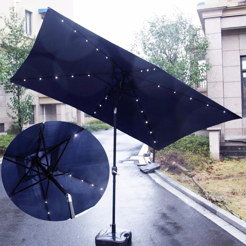 kinbor rectangular solar powered light table umbrella
