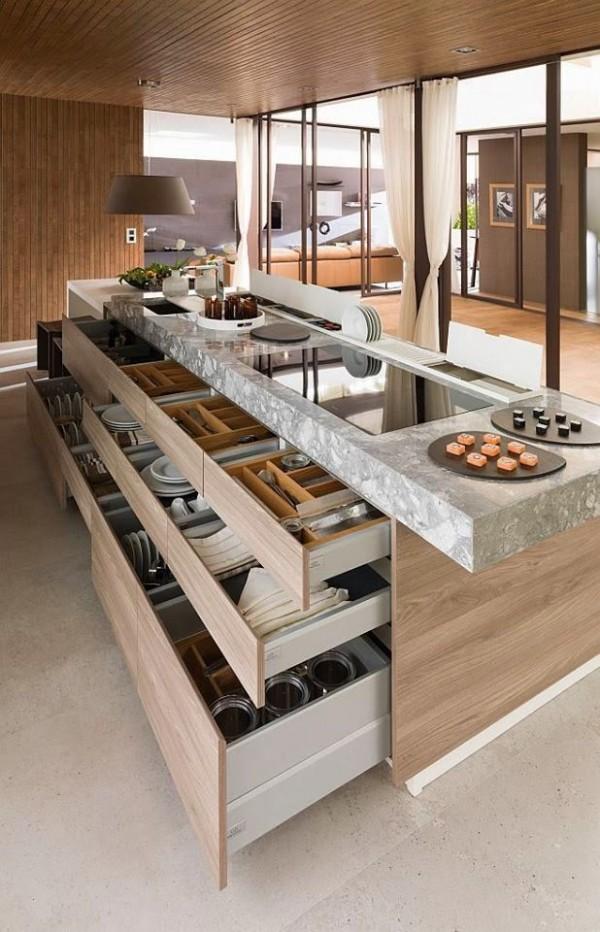 kitchen island with hidden cabinet