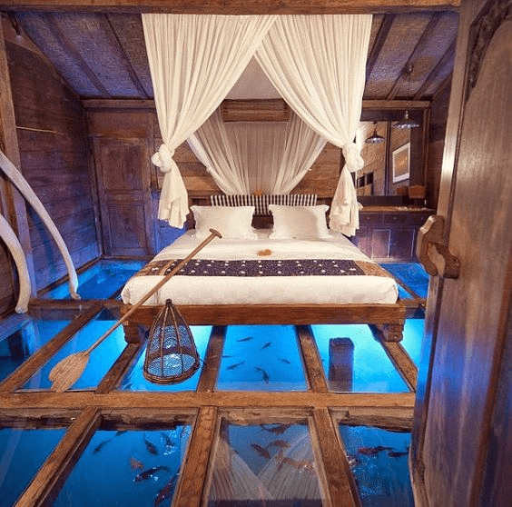 on sea bedroom in indonesia