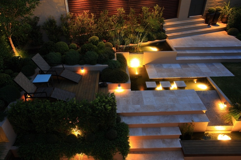 outdoor LED lighting of a terress with stair