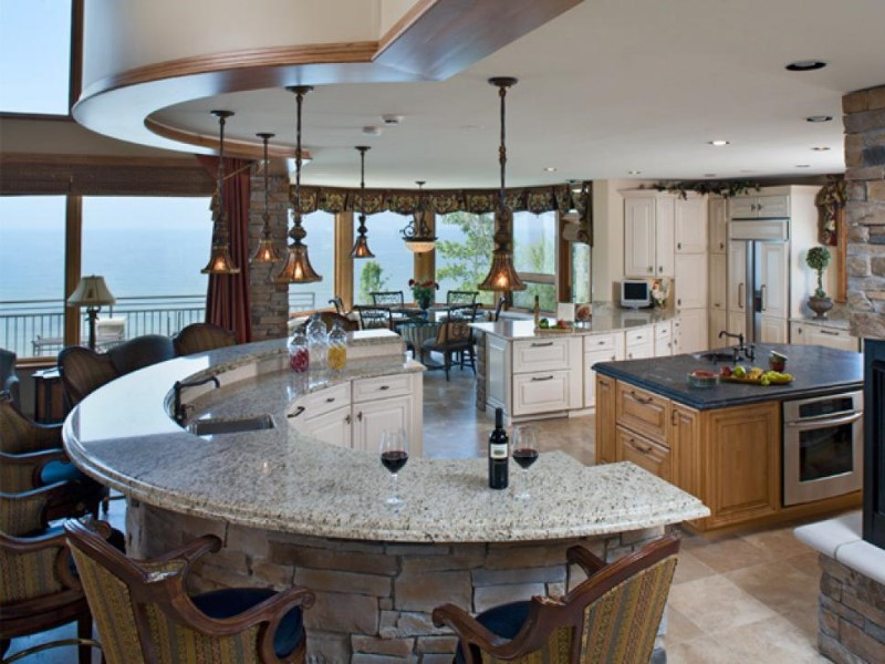 round kitchen island in the central large apartment