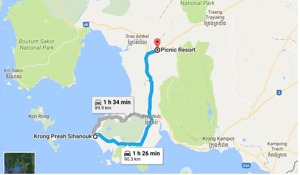 sihanoukville to Picnic resort map