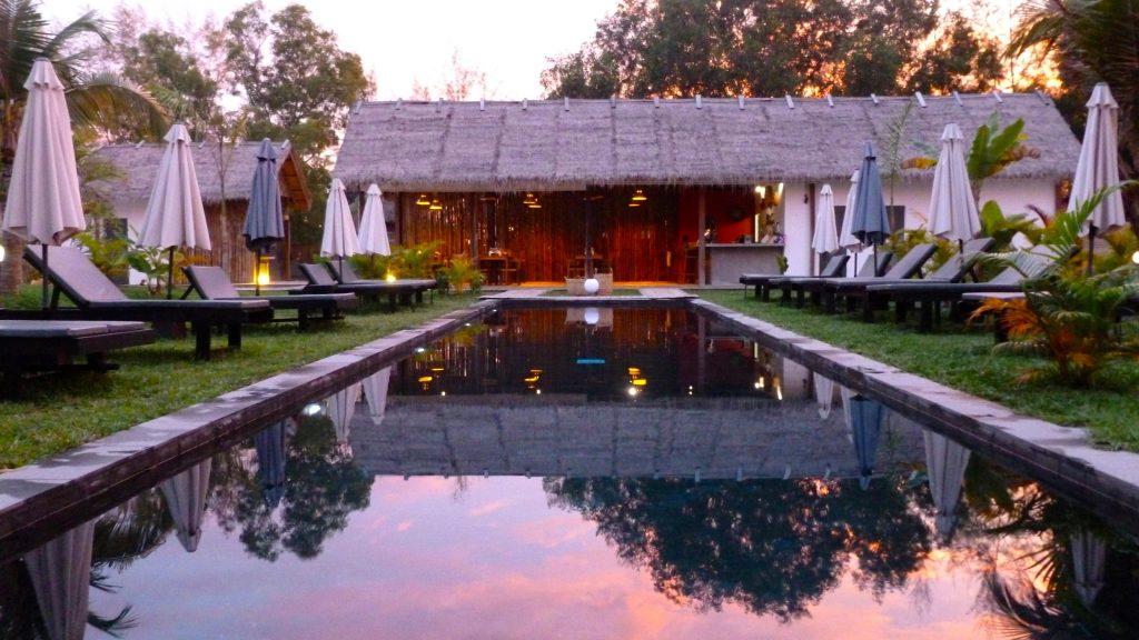 sunset at Sahaa beach resort hotel in cambodia