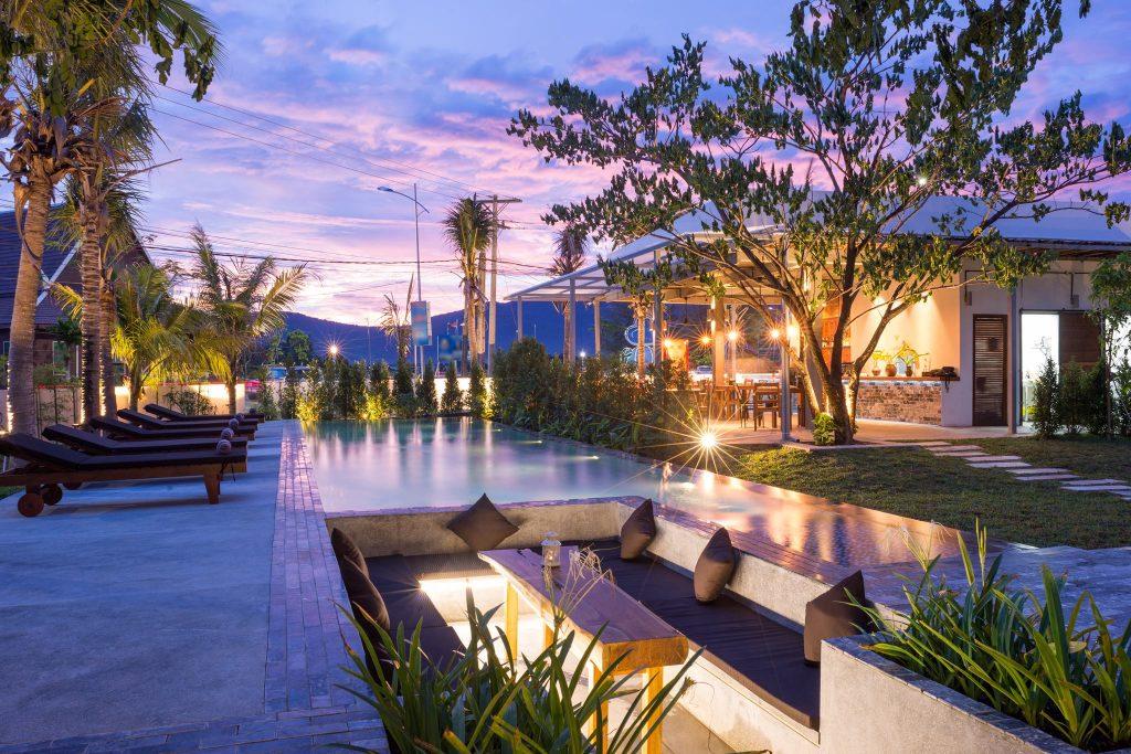 swimming pool in Kampot town during sunset