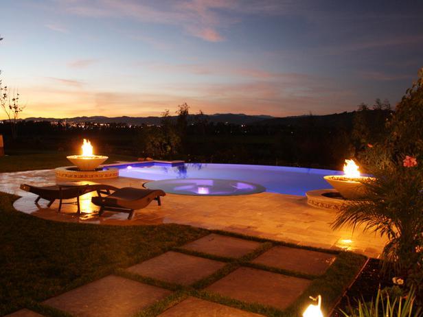 swimming pool lighting at night