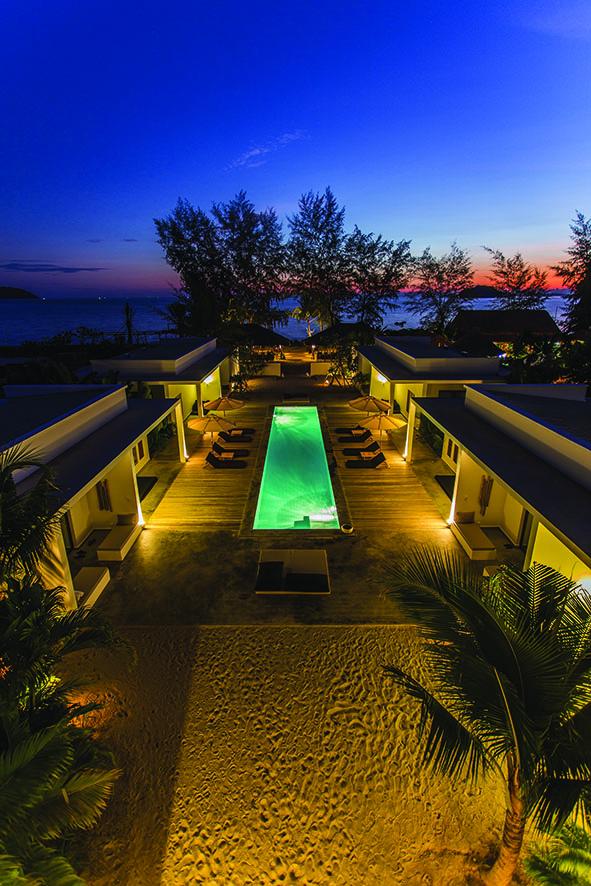 tamu hotel pool at night