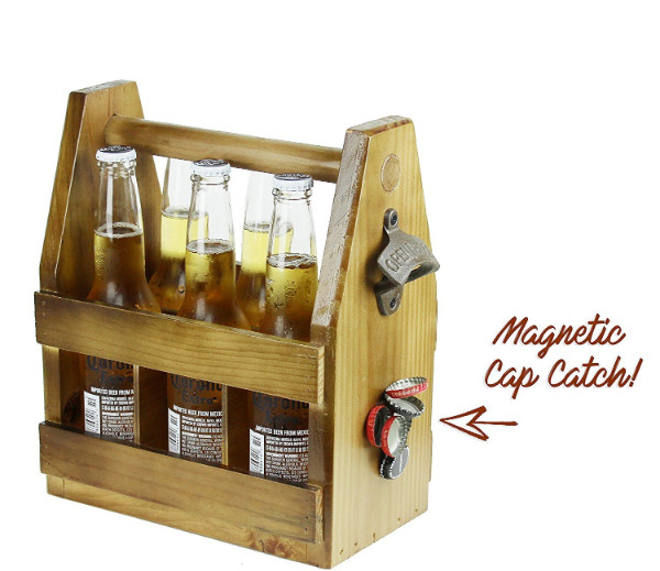 wooden beer caddy with magnetic cap catcher
