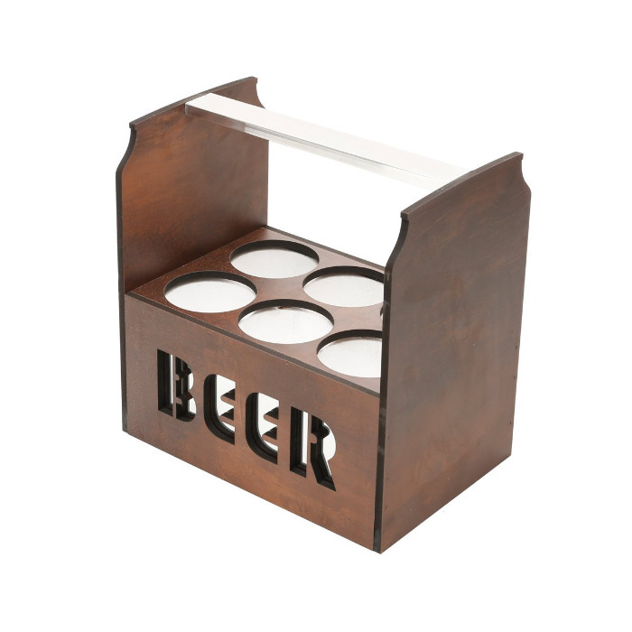 wooden beer tote without opener